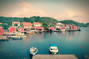 Norway - Skjernoy island in the region of Vest-Agder. Small fishing town - Farestad