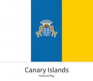 National flag of Canary Islands with correct proportions