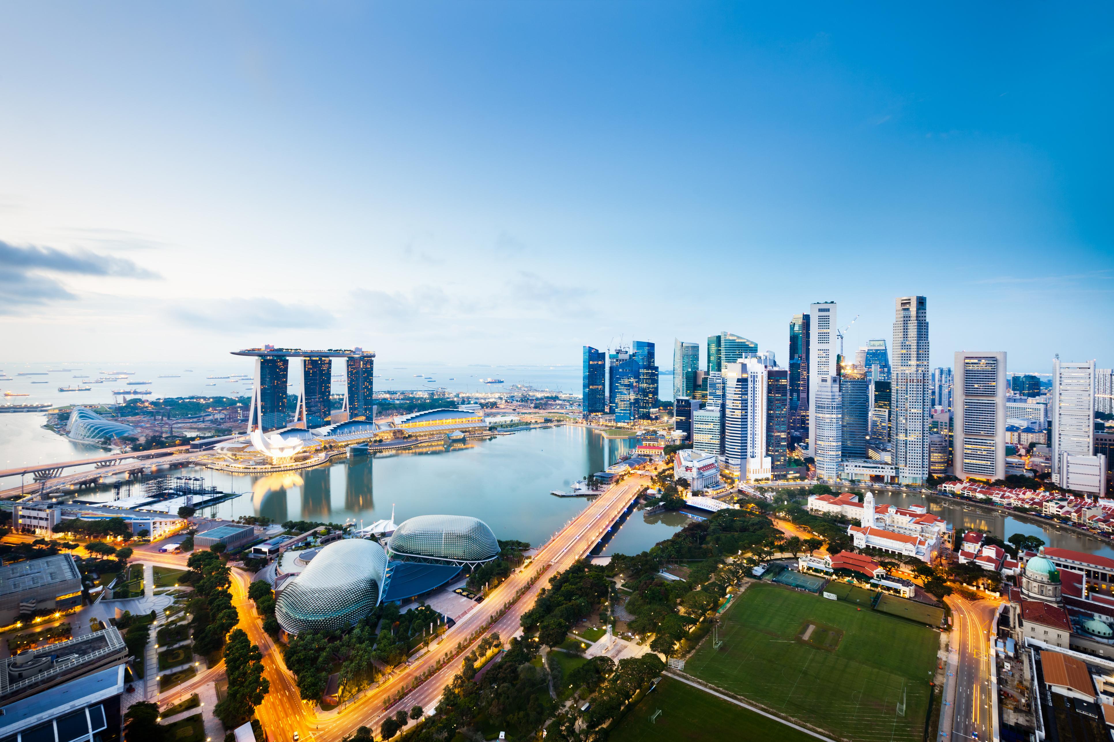 weltreise skyline von singapur